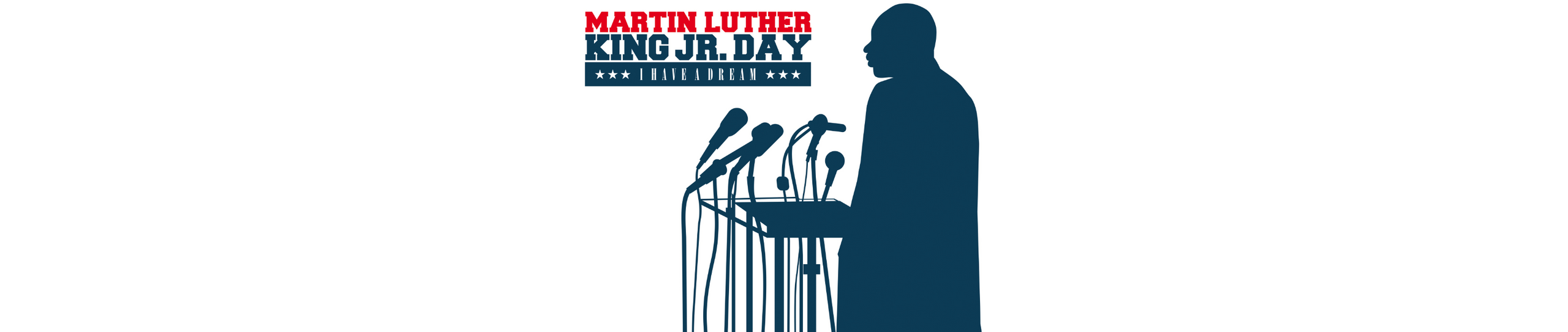 An illustration of Martin Luther King on the podium for Martin Luther King day