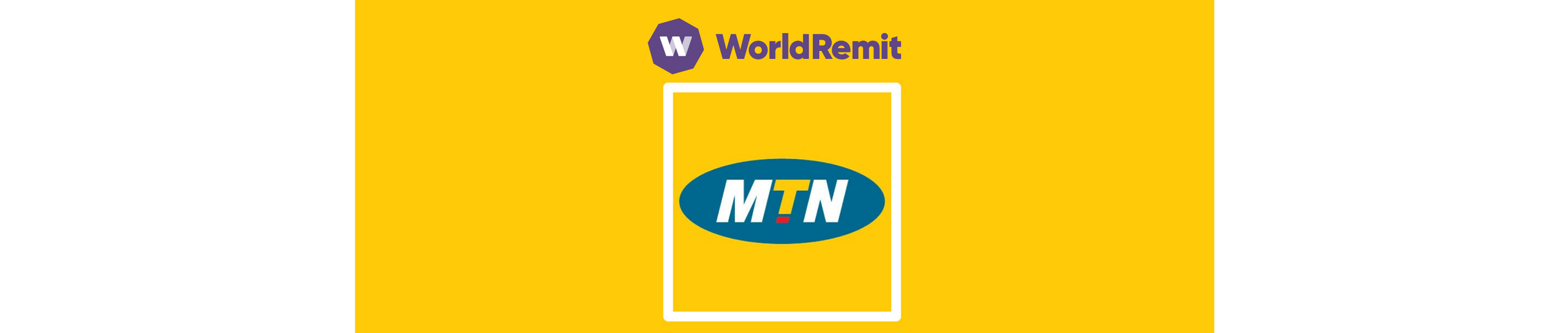 Logos of MTN and WorldRemit on a yellow background