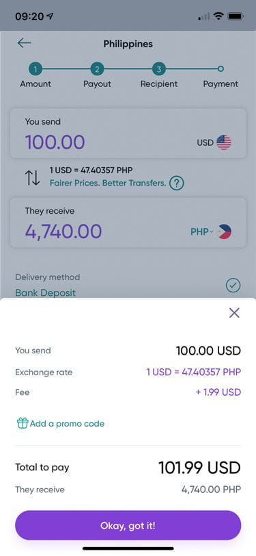 WorldRemit App - sending from the United States to the Philippines